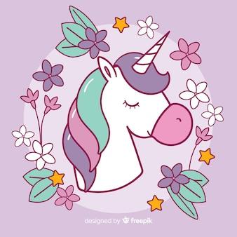 Sfondo colorato unicorno design piatto