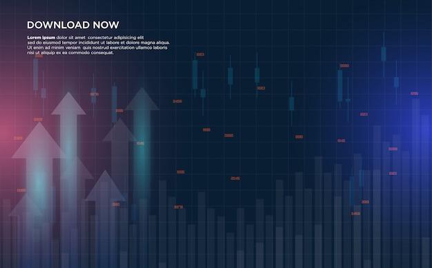 Sfondo commerciale con un'illustrazione dei grafici di borsa sempre più in aumento.