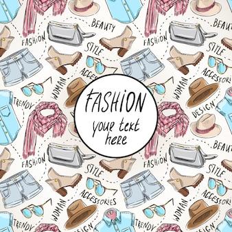 Sfondo con abbigliamento e accessori femminili e posto per il testo. illustrazione disegnata a mano