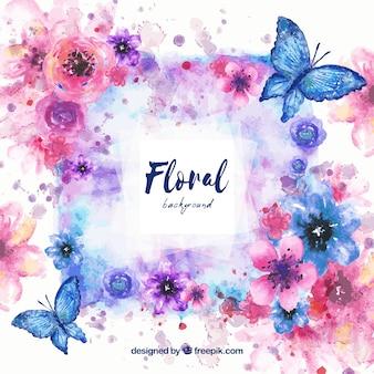 Sfondo con acquerello floreale
