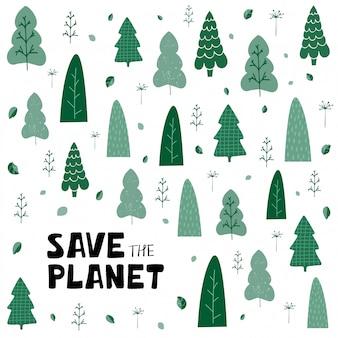 Sfondo con alberi verdi, foglie e scritte a mano salva il pianeta in stile cartone animato
