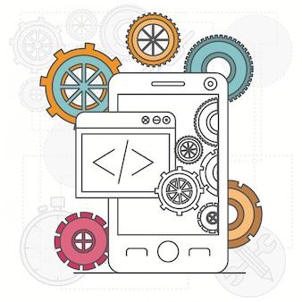 Sfondo con app per smartphone e strumenti per sviluppatori