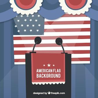 Sfondo con bandiera americana e leggio