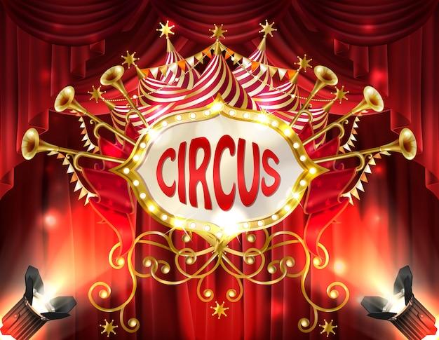 Sfondo con cartello del circo illuminato con faretti e tende rosse, tromba d'oro
