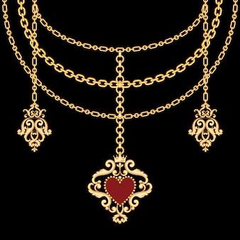 Sfondo con catene collana metallica dorata