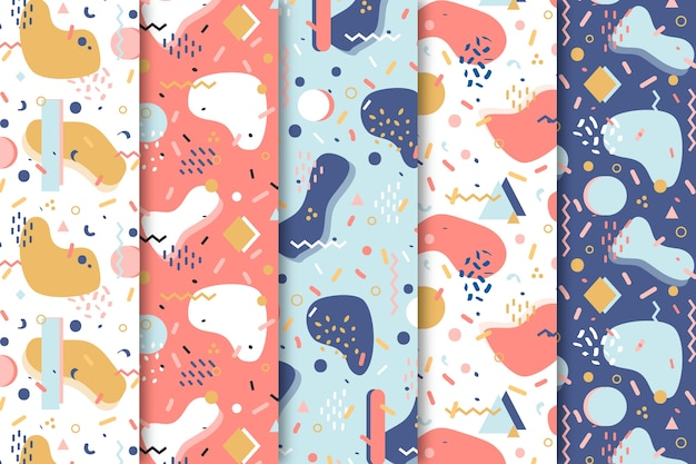 Sfondo con collezione di pattern astratti