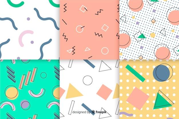 Sfondo con collezione geometrica di memphis