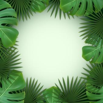 Sfondo con cornice di foglie tropicali verdi di palma e monstera.