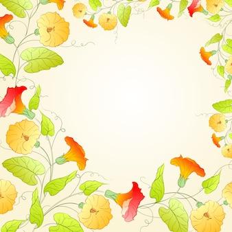 Sfondo con corona di fiori per un design romantico