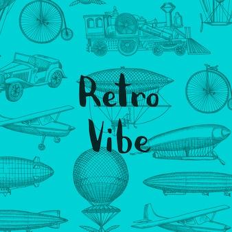 Sfondo con dirigibili disegnati a mano steampunk, air baloons, biciclette e automobili con posto per illustrazione del testo