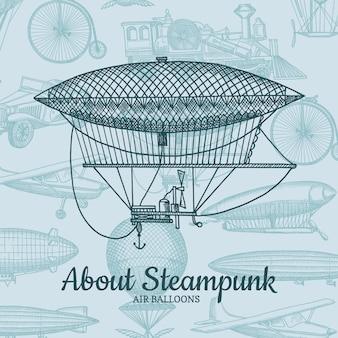 Sfondo con dirigibili disegnati a mano steampunk, mongolfiere, biciclette e automobili con posto per il testo. trasporto di aerostato e dirigibile, illustrazione di volo e di viaggio