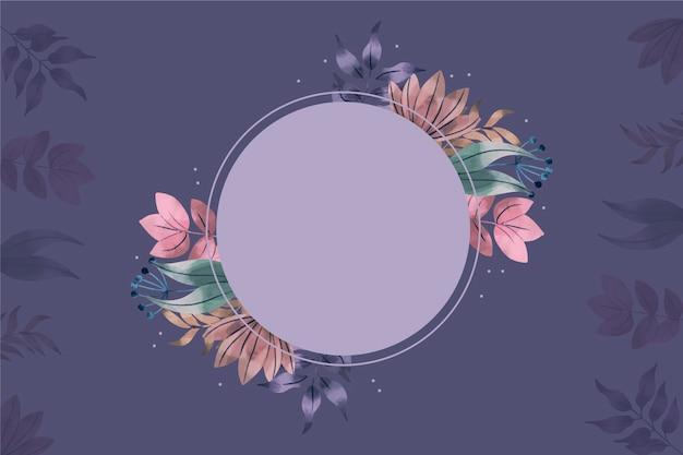 Sfondo con distintivo vuoto e fiori d'inverno