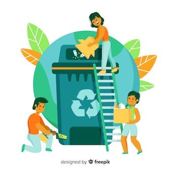 Sfondo con ecologia e concetto di riciclaggio