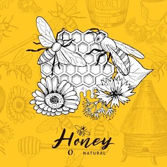 Sfondo con elementi a tema contorno miele schizzato e posto per il testo. apicoltura e favo, illustrazione imprecisa del miele del dessert