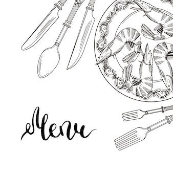 Sfondo con elementi da tavola disegnati a mano nell'angolo in alto a destra con posto per il testo. illustrazione di articoli per la tavola nel ristorante, banner menu con utensile