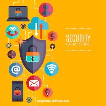 Sfondo con elementi di sicurezza di internet