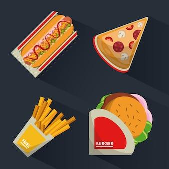 Sfondo con fast food burguer e hot dog e pizza e patatine fritte
