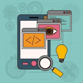 Sfondo con finestre di app nello sviluppo di idee in smartphone