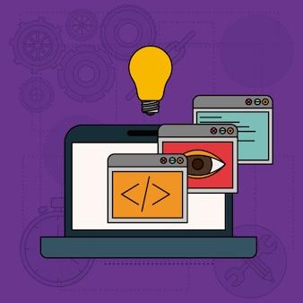 Sfondo con finestre di app nello sviluppo di idee nel computer portatile