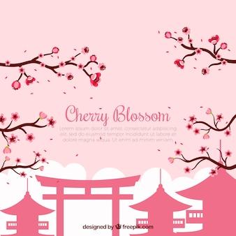 Sfondo con fiori di ciliegio in design piatto