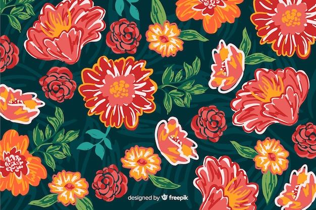 Sfondo con fiori dipinti colorati