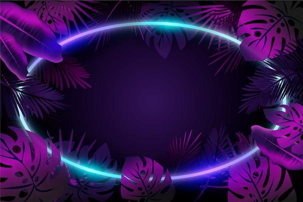 Sfondo con foglie realistiche con tema cornice al neon