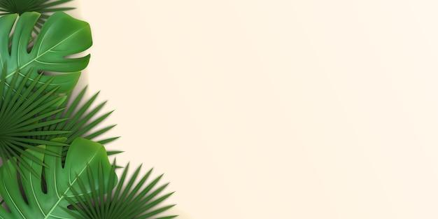 Sfondo con foglie tropicali verdi di palma e monstera.