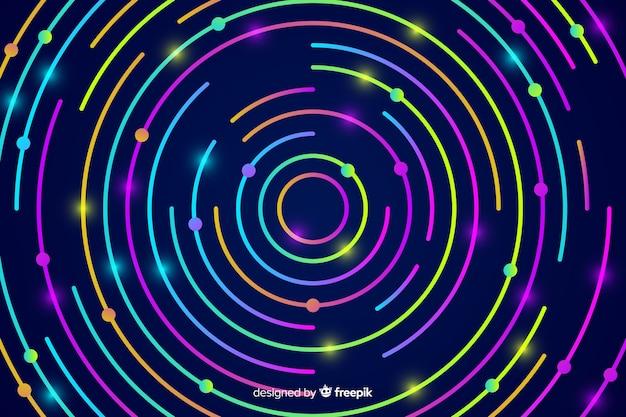 Sfondo con forme al neon astratte