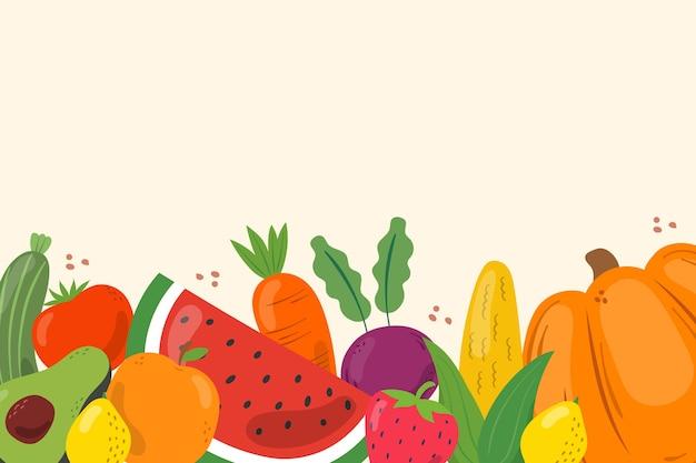 Sfondo con frutta e verdura