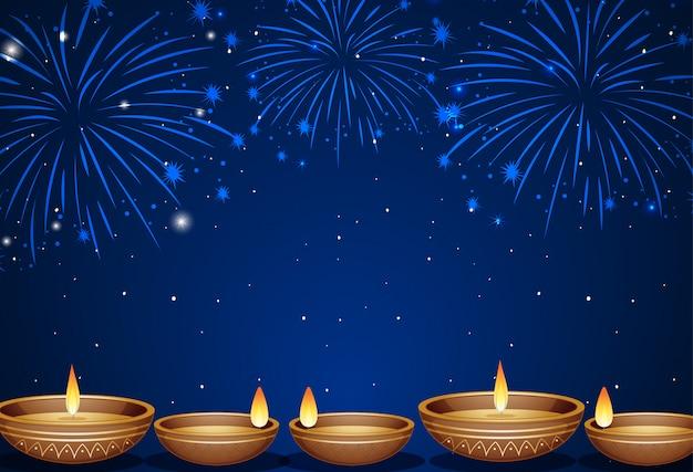 Sfondo con fuochi d'artificio e lume di candela