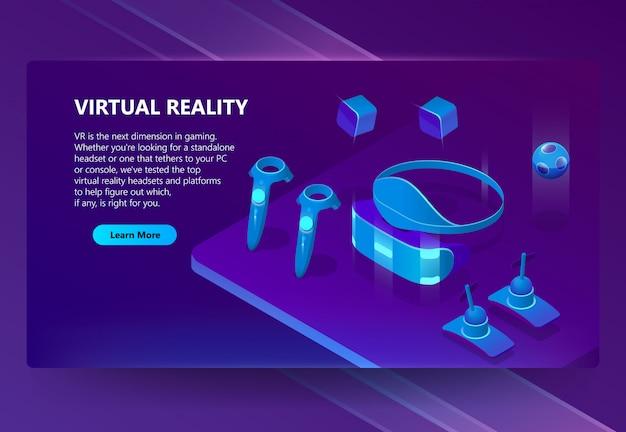 Sfondo con gadget per realtà virtuale