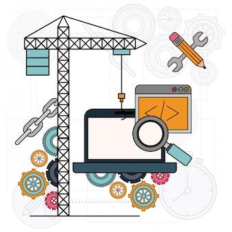 Sfondo con gru e computer portatile per lo sviluppo della costruzione