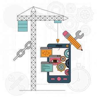 Sfondo con gru e smartphone per lo sviluppo della costruzione