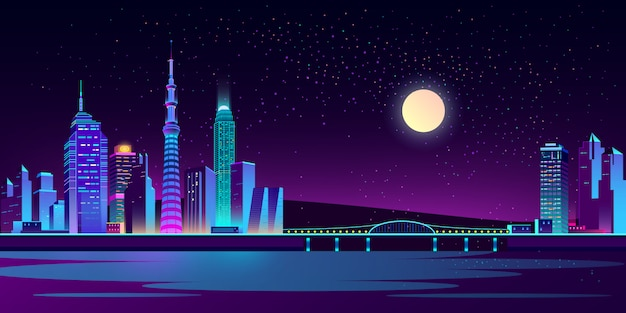 Sfondo con la città di notte in luci al neon