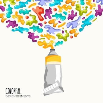 Sfondo con macchie colorate e spray su un bianco.