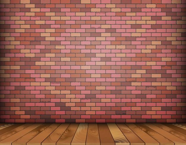 Sfondo con mattoni e pavimento in legno
