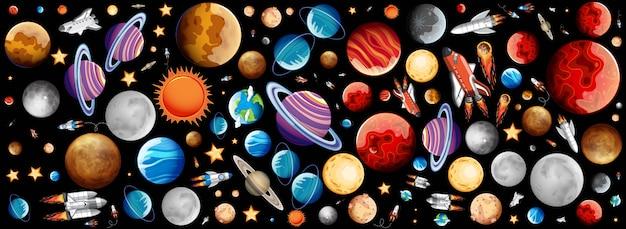 Sfondo con molti pianeti nello spazio