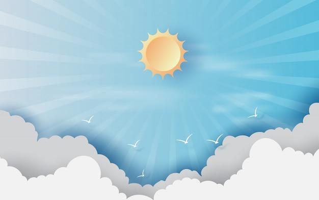 Sfondo con nuvole sul cielo blu