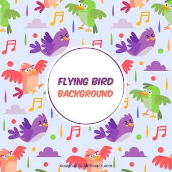 Sfondo con pattern di uccelli colorati