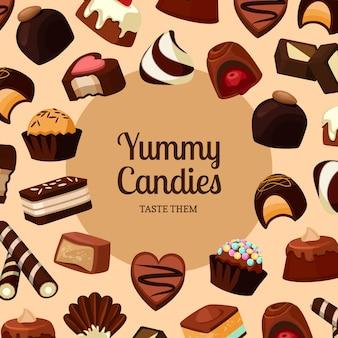 Sfondo con posto ftext e cartoni animati caramelle al cioccolato