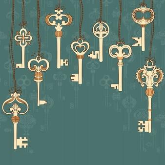Sfondo con raccolta di chiavi antiche e luogo per il vostro testo.