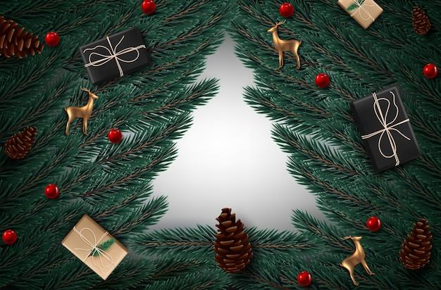 Sfondo con rami di albero di natale dall'aspetto realistico e cervo di vetro dorato.