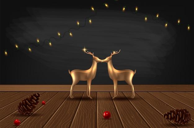 Sfondo con rami di albero di natale dall'aspetto realistico e cervo di vetro oro rosa.