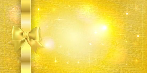 Sfondo con stelle scintilla e legato con nastro con fiocco oro. copyspace
