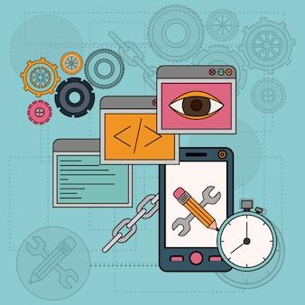 Sfondo con strumenti software per lo sviluppo della costruzione in smartphone