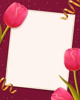 Sfondo con tulipani e foglio di carta bianca.