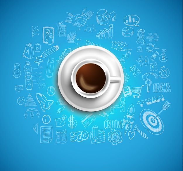 Sfondo con un caffè fresco sul tavolo con le icone