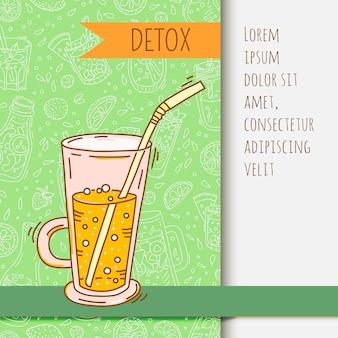 Sfondo con vaso di vetro con acqua infusa di frutta. disintossicante per la salute.