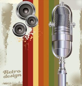 Sfondo con vecchio microfono