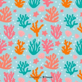 Sfondo corallo disegnato a mano